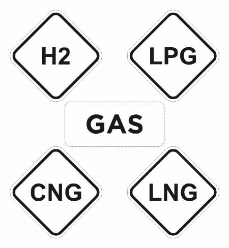 Brandstof pictogram sticker Gas